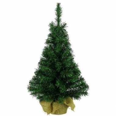 Volle kerstboom groen in jute zak 45 cm