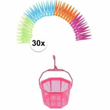 Wasknijper mandje roze met haak en 30 wasknijpers
