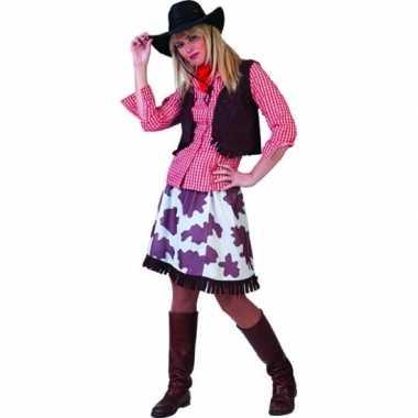 Feest wild west cowboy overhemd dames rood wit