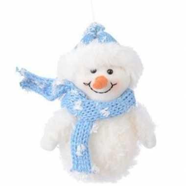Feest wit blauwe sneeuwpop type 2 kerstversiering hangdecoratie 14 cm