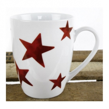 Feest witte beker met rode sterren