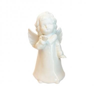 Feest witte engel van porselein 18 cm
