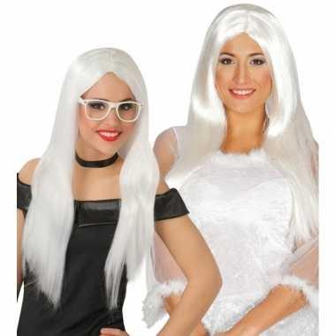 Feest witte engelen pruik voor dames