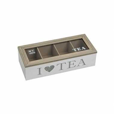 Mooie Houten Theedoos.Witte Houten Theedoos Met 4 Vakken I Love Tea