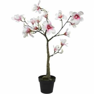 Witte/roze magnolia/beverboom kunsttak kunstplant 102 cm in pot