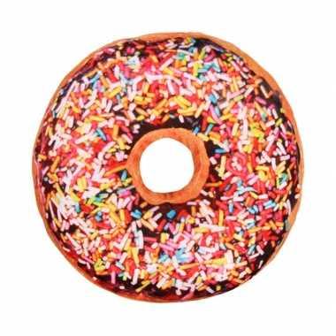 4c13aaf7fc755f Woonaccessoire donut kussen bruin 40 cm | Feestwinkel-online.nl