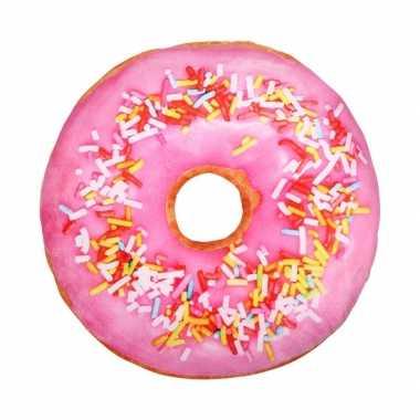 2057bad96285d9 Woonaccessoire licht roze donut kussen 40 cm | Feestwinkel-online.nl