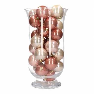 Feest woondecoratie roze mix kerstballen in vaas