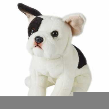Feest zittend honden knuffeltje franse bulldog 23 cm met kraalogen