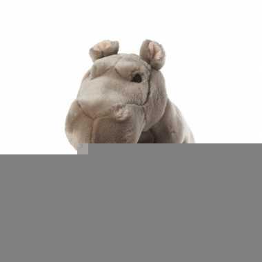 Feest zittende nijlpaard knuffel met kraaloogjes 22 cm