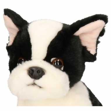 Feest zittende pluche knuffel franse bulldog 24 cm