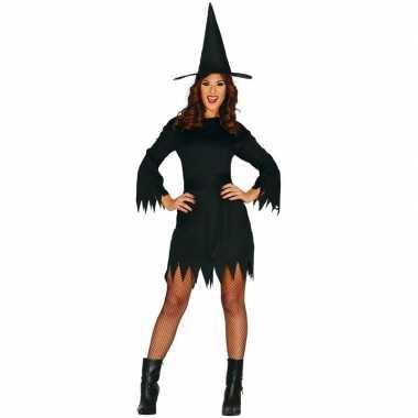 Zwart heksen kostuum budget voor dames