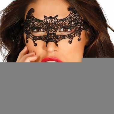 Zwart kanten halloween oogmasker vleermuis voor dames