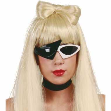 Feest zwart met witte popster zonnebril