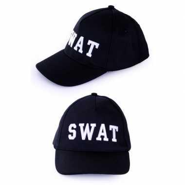 Feest zwarte baseball cap swat voor volwassenen