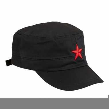 Feest zwarte cap met rode ster