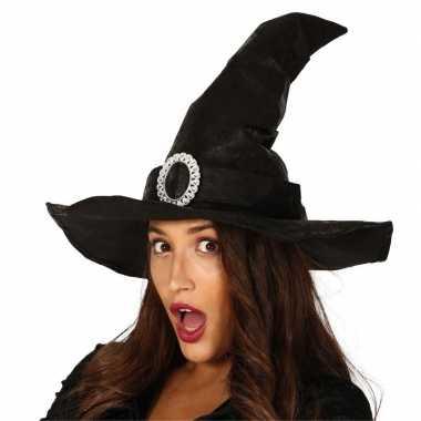 Zwarte heksenhoed lederlook met gesp voor dames