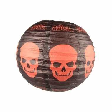 Feest zwarte lampion met schedels 30 cm