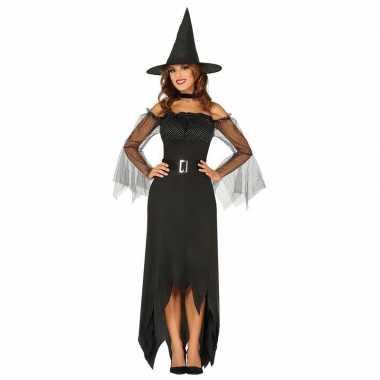 Zwarte lange heksen kostuum voor dames