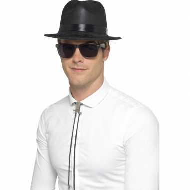 Feest zwarte maffia hoed van plastic