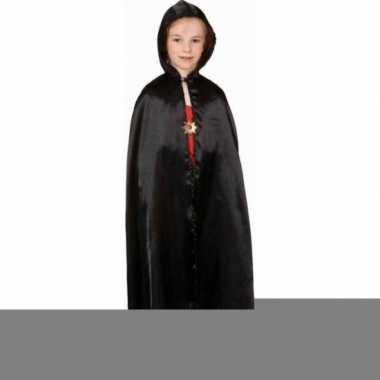 Feest zwarte satijnen cape voor kinderen