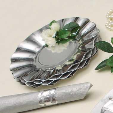Feestartikelen diepe borden zilver 21 cm