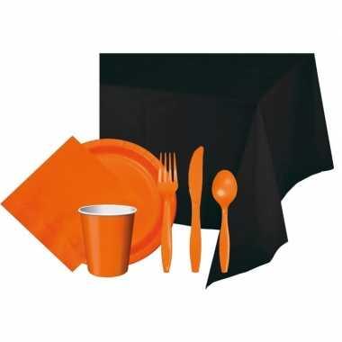 Halloween feestpakket zwart oranje 8 persoons