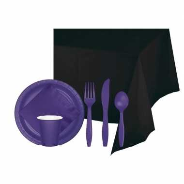 Halloween feestpakket zwart paars 8 persoons