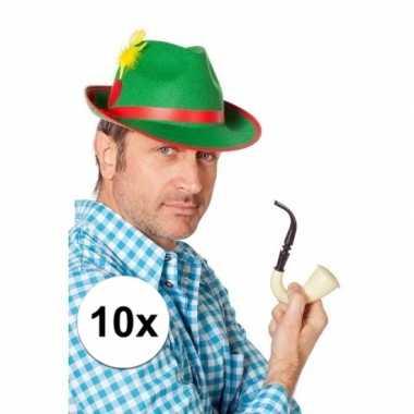 Oktoberfest - 10x stuks oktoberfest tiroler feest hoedjes groen