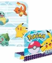 16x pokemon themafeest uitnodingen kaarten