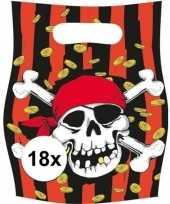 18x piraten themafeest feestzakjes uitdeelzakjes jolly roger