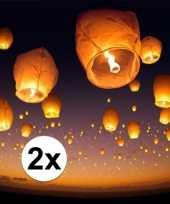 2 x witte wensballon 50 x 100 cm