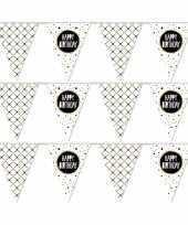 3x vlaggenlijnen happy birthday metallic feest slinger 10 meter