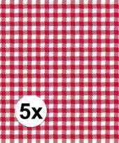 5x verpakking oktoberfest feestservetten geruit rood wit 3 laags 20 stuks