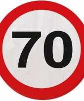 60x 70 jaar leeftijd themafeest servetten verkeersbord 33 cm ron