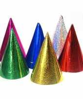 60x gekleurde papieren feesthoedjes holografisch