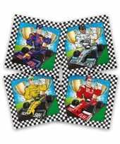 60x race formule 1 themafeest servetten gekleurd 33 x 33 cm