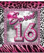 60x sweet 16 themafeest servetten 25 x 25 cm papier