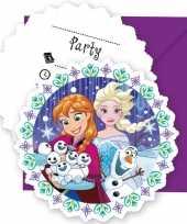 6x frozen blauw paars themafeest uitnodigingen 11 cm