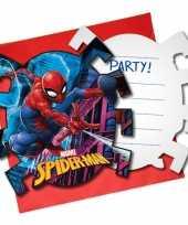 6x marvel spiderman themafeest uitnodigingen 7 cm