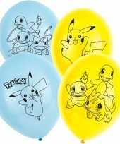 6x pokemon themafeest ballonnen 28 cm