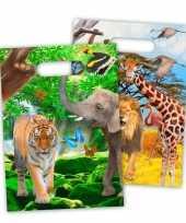 8x safari jungle themafeest feestzakjes 18 x 29 cm