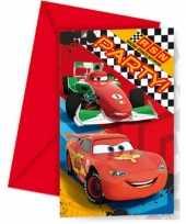 Cars themafeest uitnodigingen 12 stuks