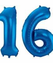 Cijfer 16 ballon blauw 86 cm