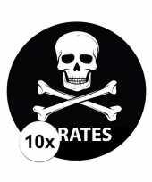 Feest 10 stuks zwarte piraten stickers 14 8 cm