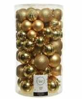 Feest 100x gouden kerstballen 4 5 6 7 8 cm kunststof mix