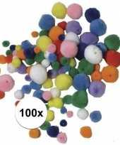Feest 100x knutsel pompons gekleurd om te rijgen