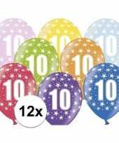 Feest 10e verjaardag ballonnen met sterretjes 12x