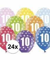 Feest 10e verjaardag ballonnen met sterretjes 24x