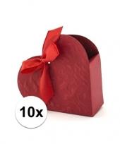Feest 10x bruiloft kado doosjes rood hart